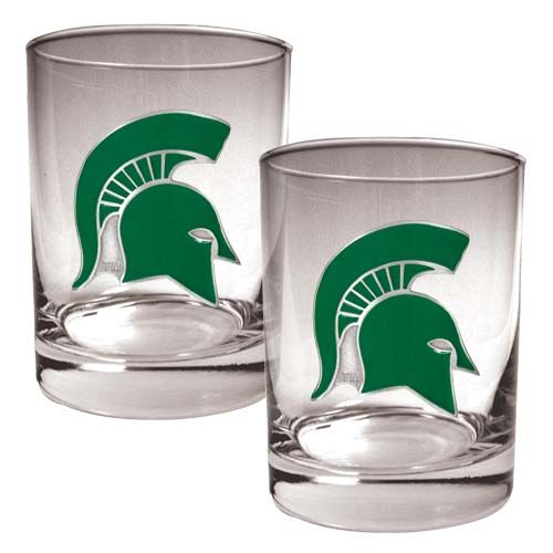 Michigan State Spartans NCAA 2 Piece Rocks Glass Set (Clear)