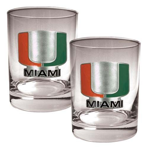Miami Hurricanes Miami Hurricanes 2 Piece Rocks Glass Set