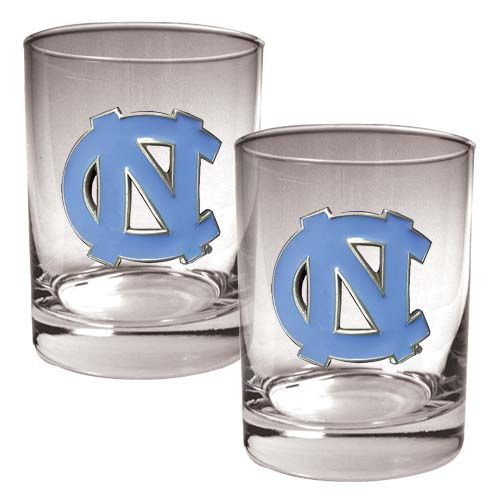 North Carolina Tar Heels NCAA 2Pc Rocks Glass Set (Clear)