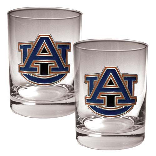 Auburn Tigers NCAA 2 Piece Rocks Glass Set (Clear)