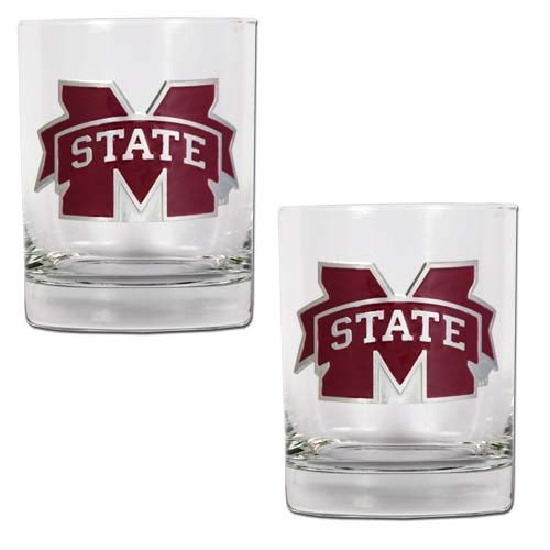 Mississippi State Bulldogs NCAA 2 Piece Rocks Glass Set (Clear)