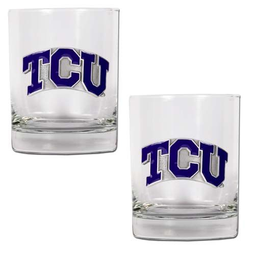 TCU Horned Frogs NCAA 2Pc Rocks Glass Set (Clear)