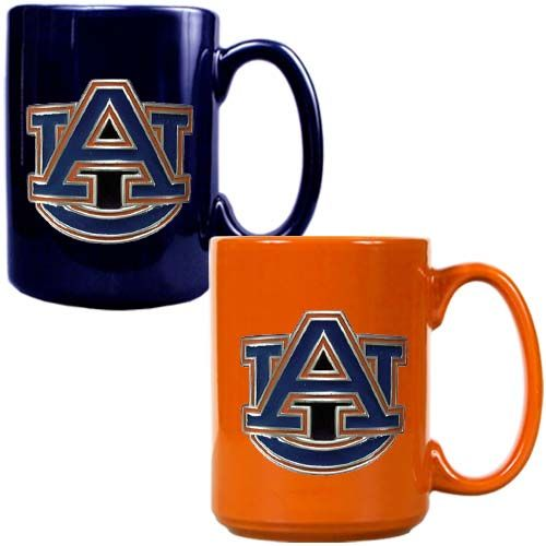 Auburn Tigers 2 Piece Color Coffee Mug Set (Blue/Orange)