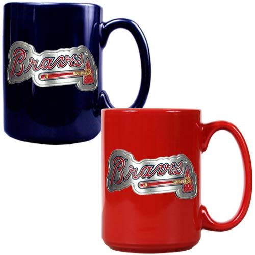 Atlanta Braves 2 Piece Color Coffee Mug Set (Blue/Red)