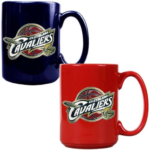 Cleveland Cavaliers NBA 2 Piece Color Coffee Mug Set (Blue/Red)