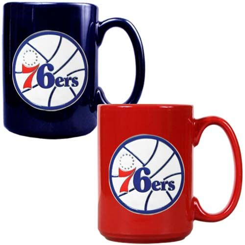 Philadelphia 76ers NBA 2 Piece Color Coffee Mug Set (Blue/Red)