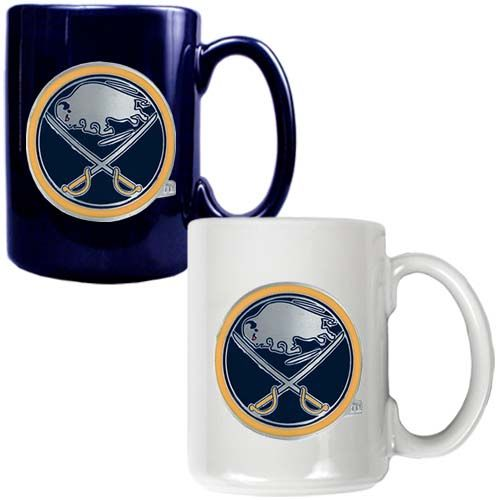 Buffalo Sabres 2 Piece Color Coffee Mug Set (Blue/White)