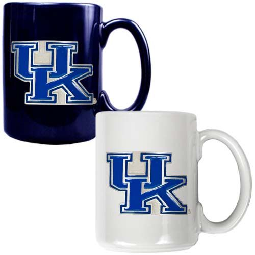 Kentucky Wildcats NCAA 2 Piece Color Coffee Mug Set (Blue/White)