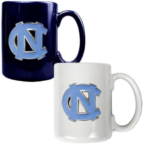 North Carolina Tar Heels NCAA 2 Piece Color Coffee Mug Set (Blue/White)