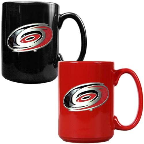 Carolina Hurricanes NHL 2 Piece Color Coffee Mug Set (Black/Red)