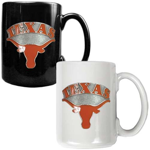 Texas Longhorns NCAA 2 Piece Color Coffee Mug Set (Black/White)