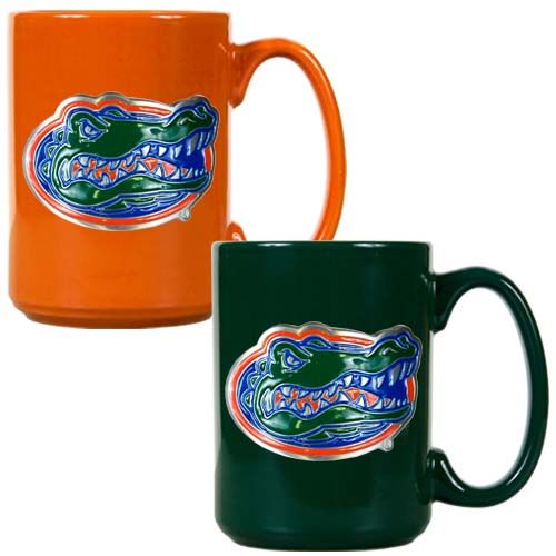 Florida Gators 2 Piece Color Coffee Mug Set (Orange/Green)