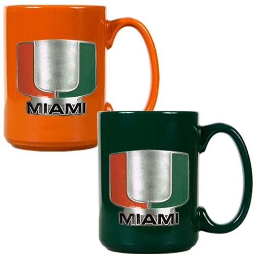 Miami Hurricanes NCAA 2 Piece Color Coffee Mug Set (Orange/Green)