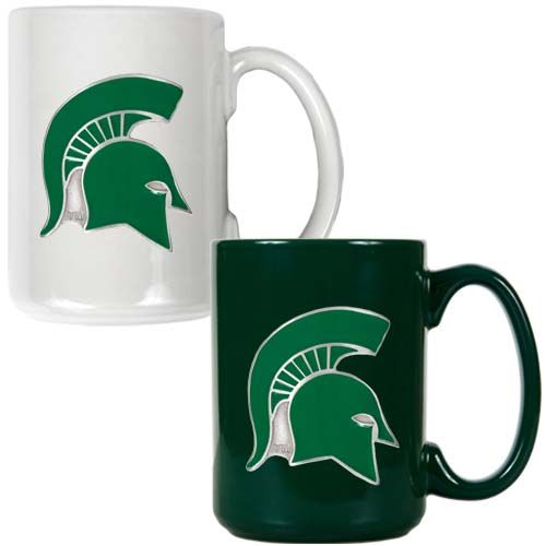 Michigan State Spartans NCAA 2 Piece Color Coffee Mug Set (White/Green)