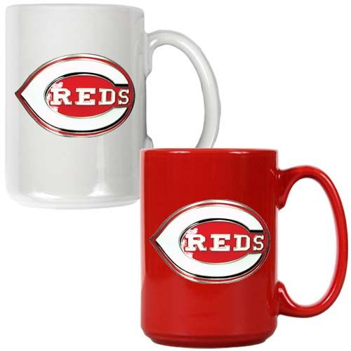 Cincinnati Reds MLB 2 Piece Color Coffee Mug Set (White/Red)
