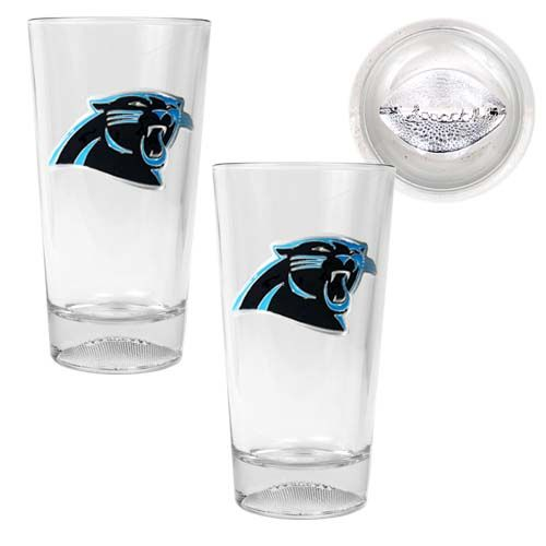 Carolina Panthers NFL 2 Piece Pint Ale Glass Set with Football Base (Clear)