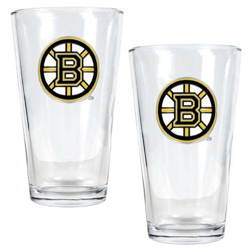 Boston Bruins NHL 2 Piece Pint Glass Set (Clear)