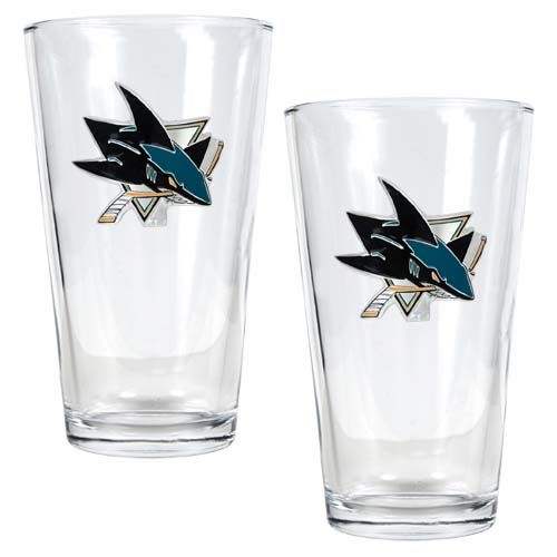 San Jose Sharks NHL 2 Piece Pint Glass Set (Clear)