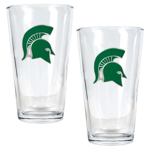 Michigan State Spartans NCAA 2 Piece Pint Glass Set (Clear)