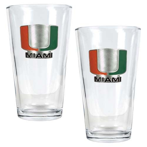 Miami Hurricanes NCAA 2 Piece Pint Glass Set (Clear)