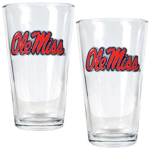 Mississippi Rebels NCAA 2 Piece Pint Glass Set (Clear)