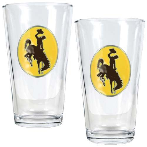 Wyoming Cowboys NCAA 2Pc Pint Glass Set (Clear)