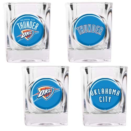 Oklahoma City Thunder NBA 4 Piece Collector's Shot Glass Set (Clear)