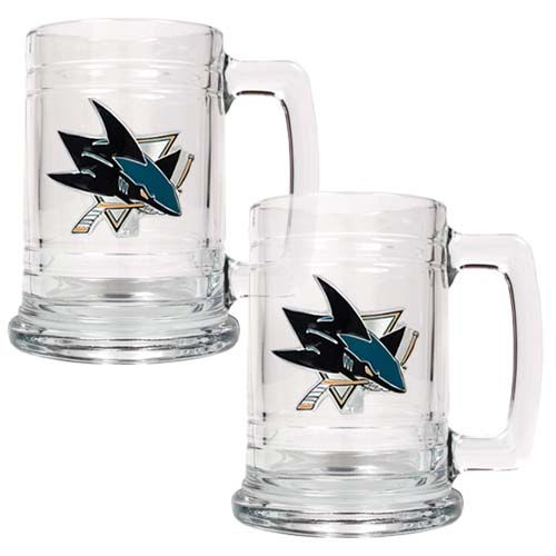 San Jose Sharks NHL 2 Piece Glass Tankard Set (Clear)