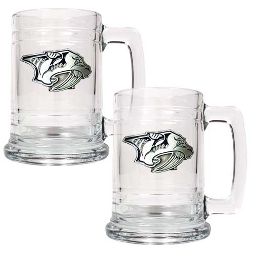 Nashville Predators NHL 2 Piece Glass Tankard Set (Clear)