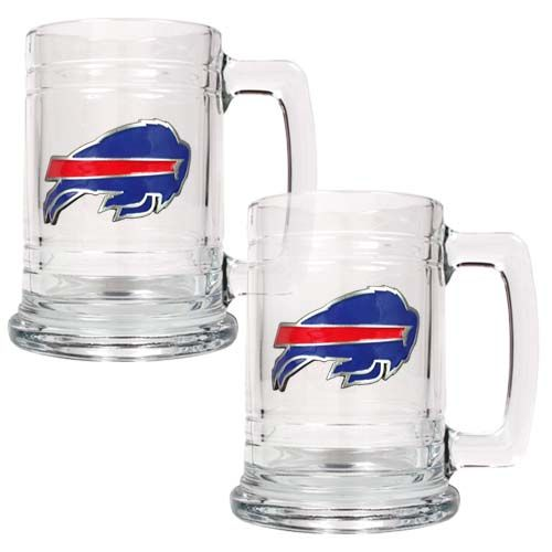 Buffalo Bills NFL 2 Piece Glass Tankard Set (Clear)