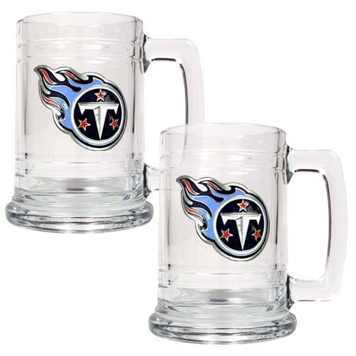 Tennessee Titans NFL 2 Piece Glass Tankard Set (Clear)