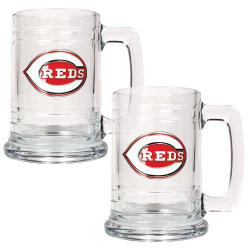 Cincinnati Reds MLB 2 Piece Glass Tankard Set (Clear)