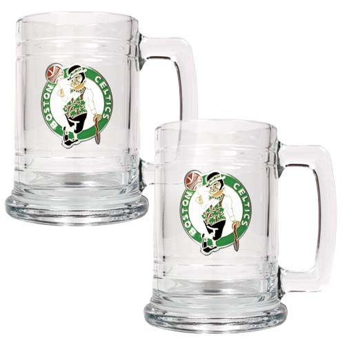 Boston Celtics NBA 2 Piece Glass Tankard Set (Clear)