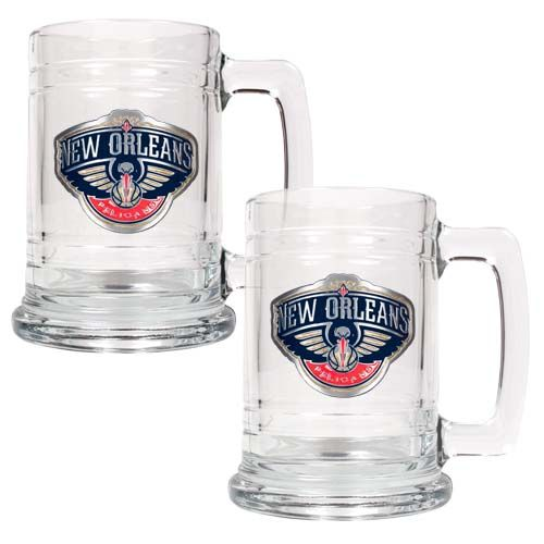 New Orleans Pelicans NBA 2 Piece Glass Tankard Set (Clear)