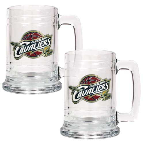 Cleveland Cavaliers NBA 2 Piece Glass Tankard Set (Clear)
