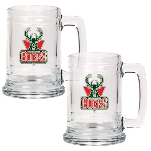 Milwaukee Bucks NBA 2 Piece Glass Tankard Set (Clear)