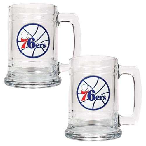 Philadelphia 76ers NBA 2 Piece Glass Tankard Set (Clear)