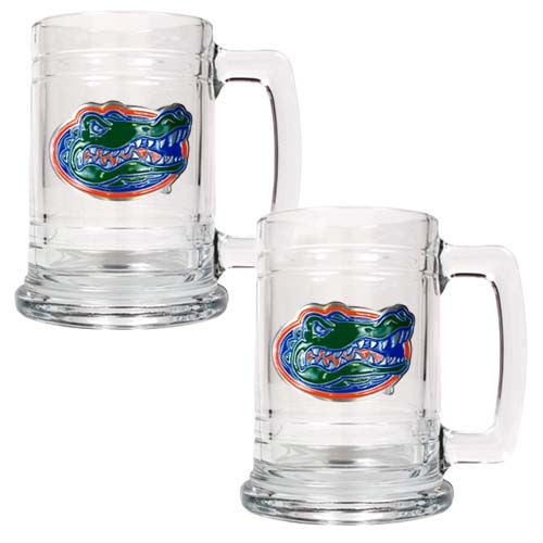 Florida Gators NCAA 2 Piece Glass Tankard Set (Clear)