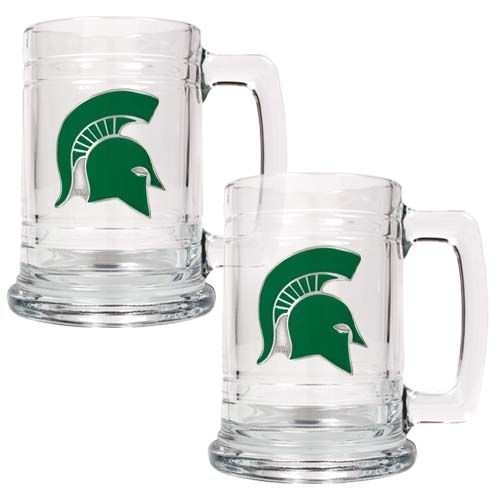 Michigan State Spartans NCAA 2 Piece Glass Tankard Set (Clear)