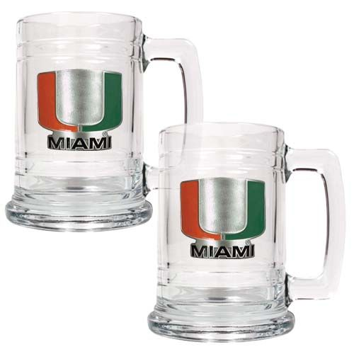 Miami Hurricanes NCAA 2 Piece Glass Tankard Set (Clear)