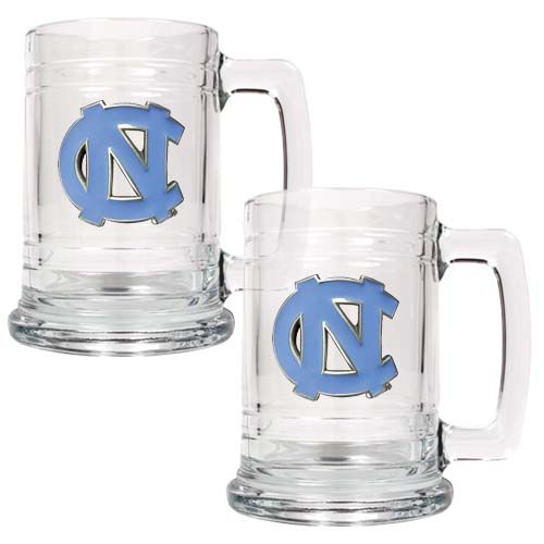 North Carolina Tar Heels NCAA 2Pc Glass Tankard Set (Clear)