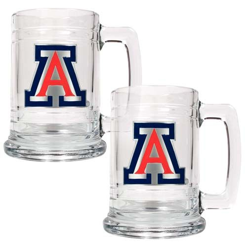 Arizona Wildcats NCAA 2 Piece Glass Tankard Set (Clear)