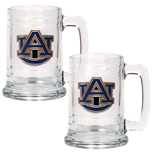 Auburn Tigers NCAA 2 Piece Glass Tankard Set (Clear)