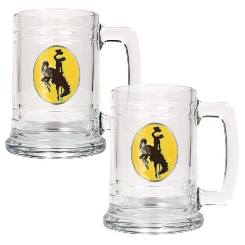 Wyoming Cowboys NCAA 2Pc Glass Tankard Set (Clear)