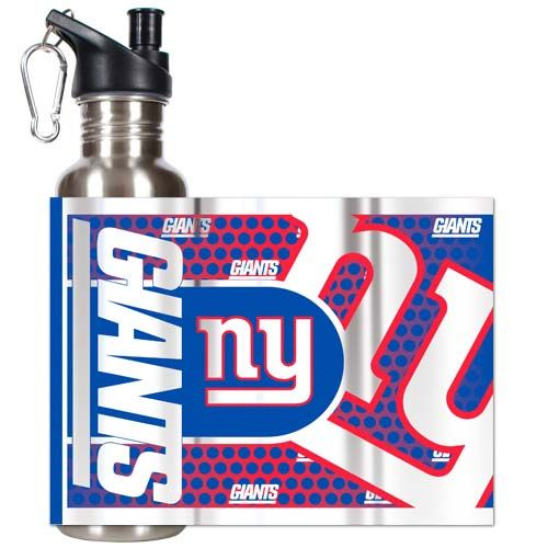 New York Giants 26 oz Stainless Steel Water Bottle with Metallic Graphics (Silver)