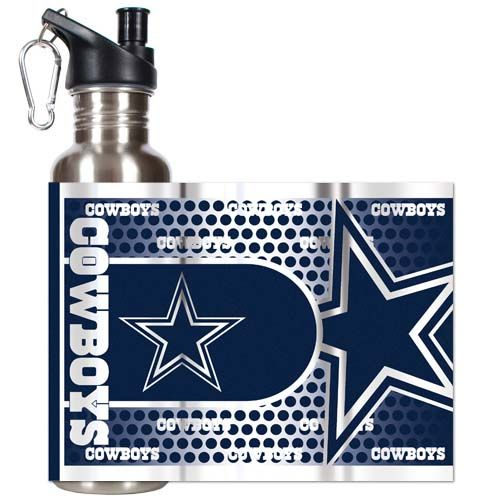 Dallas Cowboys 26 oz Stainless Steel Water Bottle with Metallic Graphics (Silver)