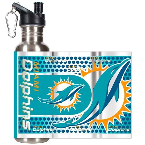 Miami Dolphins 26 oz Stainless Steel Water Bottle with Metallic Graphics (Silver)
