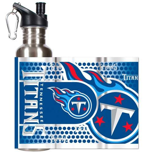 Tennessee Titans 26 oz Stainless Steel Water Bottle with Metallic Graphics (Silver)