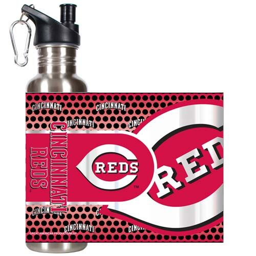 Cincinnati Reds MLB Cincinnati Reds 26 oz Stainless Steel Water Bottle with Metallic Graphics (Silver)