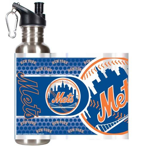 New York Mets MLB New York Mets 26 oz Stainless Steel Water Bottle with Metallic Graphics (Silver)